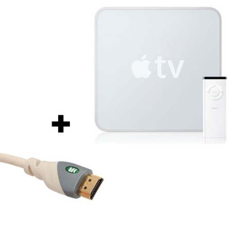 Apple TV 160 GB + Cabo HDMI Standard Speed / Conectores Banhados a Ouro 24k / Branco - Monster Cable - CJMB819_M1MC, AP