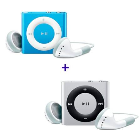2 iPods shuffle de 2GB (1 Prata e 1 Azul) Apple