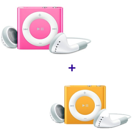 iPod shuffle com 2GB, VoiceOver, Estrutura de Alumínio, Rosa - Apple - MC585BZA  + iPod shuffle Laranja - Apple - MC749BZA