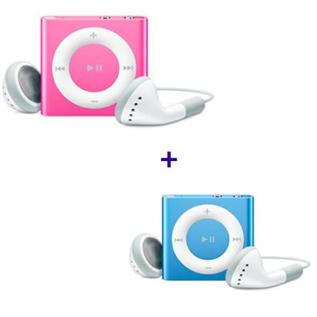 iPod shuffle com 2GB, VoiceOver, Estrutura de Alumínio, Rosa - Apple - MC585BZA + iPod shuffle Azul - Apple - MC751BZA