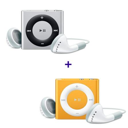 2 iPods shuffle de 2GB (1 Prata e 1 Laranja) Apple