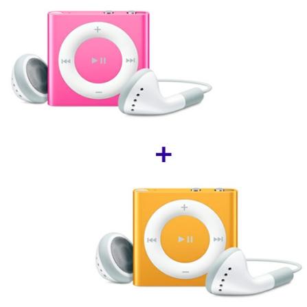 2 iPods shuffle com 2GB (1 Rosa e 1 Laranja) Apple
