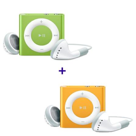 2 iPods shuffle de 2GB (1 Verde e 1 Laranja) Apple