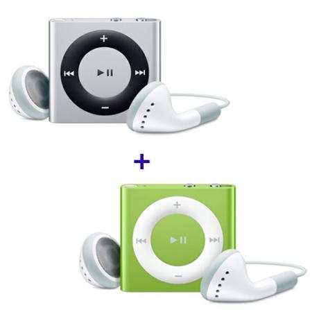 iPod shuffle com 2GB, VoiceOver, Estrutura de Alumínio, Prata - Apple - MC584BZA + iPod shuffle Verde - Apple - MC750BZA