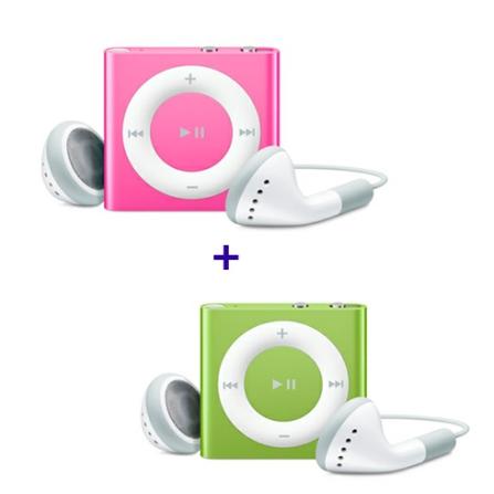 iPod shuffle com 2GB, VoiceOver, Estrutura de Alumínio, Rosa - Apple - MC585BZA + iPod shuffle Verde - Apple - MC750BZA