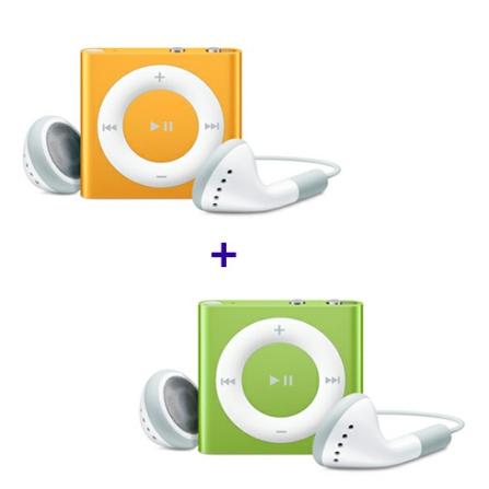 (ver AECJMC749_750) iPod shuffle com 2GB, VoiceOver, Estrutura de Alumínio, Laranja - Apple - MC749BZA + iPod shuffle Ve