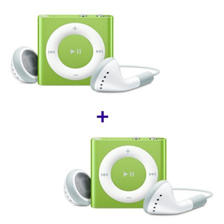 2 iPods shuffle com 2GB, Alumínio, Verde Apple