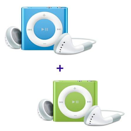 iPod shuffle com 2GB, VoiceOver, Estrutura de Alumínio, Verde - Apple - MC750BZA + iPod shuffle Azul - Apple - MC751BZA