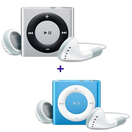 2 iPods Shuffle = Desconto de R$ 179,00