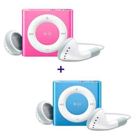 2 iPods shuffle com 2GB (1 Rosa e 1 Azul) Apple