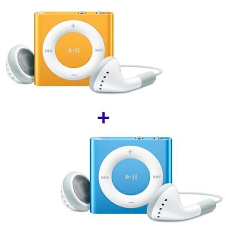 (ver AECJMC749_751) iPod shuffle com 2GB, VoiceOver, Estrutura de Alumínio, Laranja - Apple - MC749BZA + iPod shuffle Az