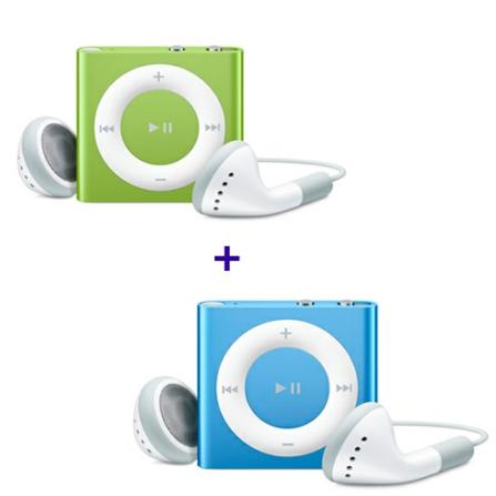 2 iPods shuffle com 2GB (1 Verde e 1 Azul) Apple