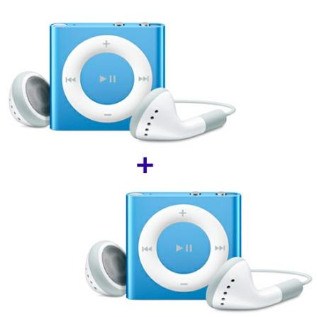 2 iPods shuffle com 2GB, Alumínio, Azul Apple