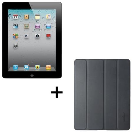 iPad 2 Apple Preto com 16GB de Memória, Wi-Fi, FaceTime, Vídeos em HD e Chip Apple A5 dual core 1GHz + Capa Frente e Ver