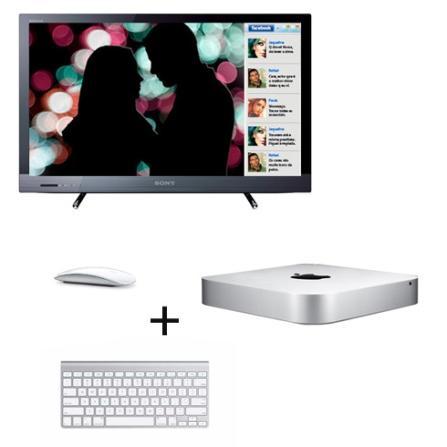 Mac mini, Mouse, Teclado e TV LED Sony com 22