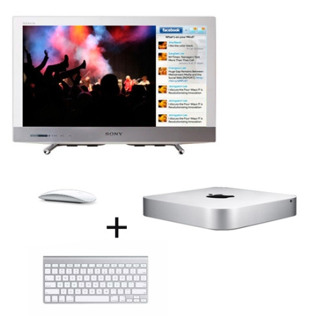 Mac mini, Mouse, Teclado e TV LED Sony com 22