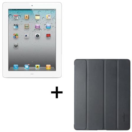 iPad 2 Branco com 16GB de Memória, Wi-Fi, FaceTime, Vídeos em HD e Chip Apple A5 dual core 1GHz + Capa Frente e Ve