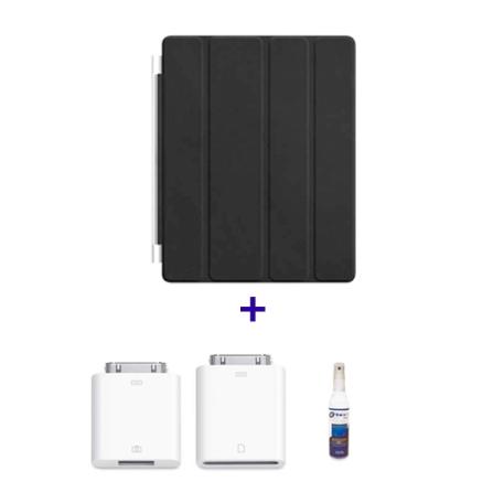 Kit de Conexão de Câmera para iPad 2 e Novo iPad - Apple - MC531BZA + Capa Frontal de Couro Smart Cover Preto para iPad