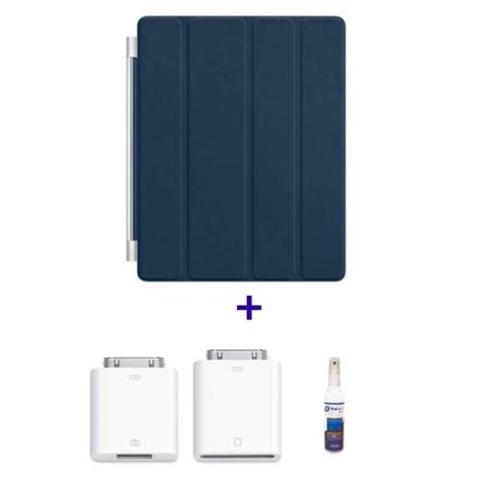 Capa Frontal de Couro Smart Cover Azul Marinho para iPad 2 e Novo iPad - Apple - MD303BZA + Kit de Conexão de Câmera par