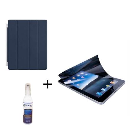 Capa Frontal de Couro Smart Cover Azul Marinho para iPad 2 - Apple + Protetor de Tela Anti Bolhas, Anti Reflexo e Anti Manchas T