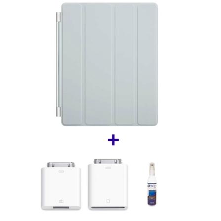 Capa Frontal de Poliuretano Smart Cover Cinza claro para iPad 2 e Novo iPad - Apple - MD307BZA + Kit de Conexão de Câmer