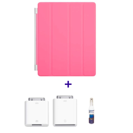 Capa Frontal Smart Cover Rosa para iPad 2  Apple MD308BZA+ Kit de Conexão de Câm p/ iPad 2 MC531BZA + Limpador para Elet