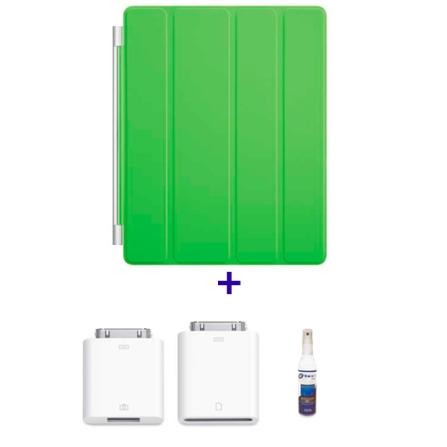 Capa Frontal de Poliuretano Smart Cover Verde para iPad 2 e Novo iPad - Apple - MD309BZA + Kit de Conexão de Câmera para