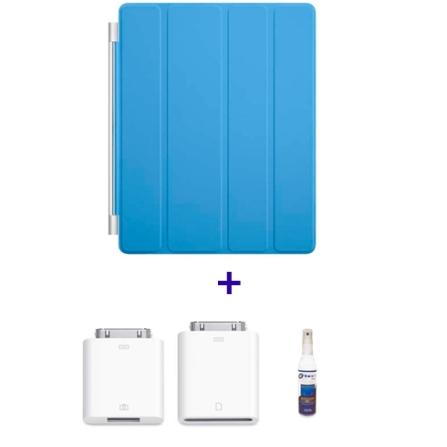 Capa Frontal de Poliuretano Smart Cover Azul para iPad 2 e Novo iPad - Apple - MD310BZA + Kit de Conexão de Câmera para
