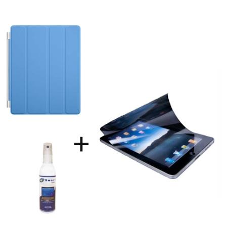 Capa Frontal de Poliuretano Smart Cover Azul para iPad 2 - Apple + rotetor de Tela Anti Bolhas, Anti Reflexo e Anti Manchas Tran