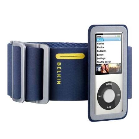 Braçadeira Esportiva Azul com Cinza para iPod nano 4°Geração - Belkin - F8Z376NBY, Bege e Rosa, 36 meses