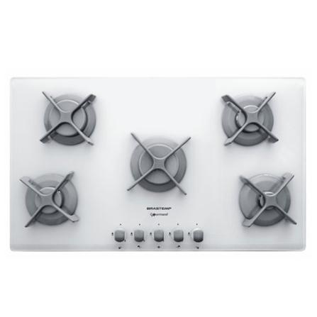 (Furo estoque 12-09) Cooktop Gourmand 5 Bocas Gás / Acendimento Super Automático / Vidro / Branco - Brastemp - BDC90BBBNA, 220V