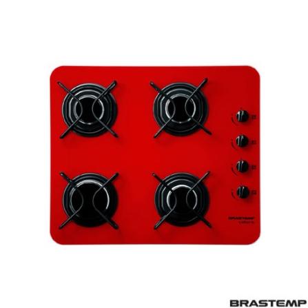 Cooktop 4 Bocas a Gás / Vermelho - Colors Brastemp - BDD60AVVNA, Vidro, Gás, 04 Bocas, Superautomático