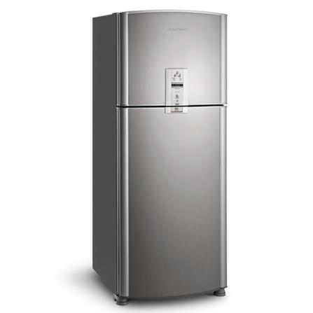 Refrigerador 2 Portas 433L FrostFree Inox Brastemp, 110V, 220V, 02 Portas, 02 Portas, Sim, 433 Litros, 107 Litros, 326 Litros, 56 kWh/mês, Inox, 01 ano, De 351 a 500 litros