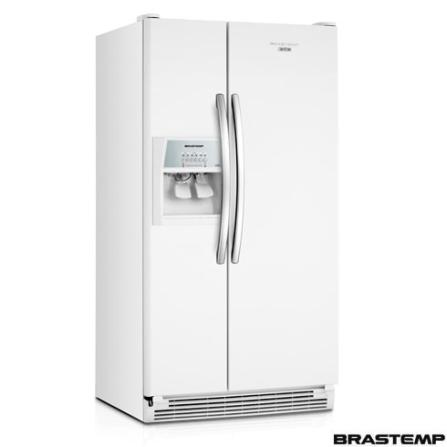 Refrigerador Side by Side 574L Frost Free Branco Brastemp - BRS62ABANA, 110V, Branco, Acima de 500 litros, 574 Litros, 174 Litros, 410 Litros, Sim, Sim, Sim, 12 meses, 02 Portas, Side by Side