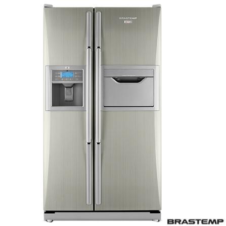 Refrigerador Side by Side 603L Titanium Brastemp -BRS66A, 110V, Inox, 603 Litros, 209 Litros, 394 Litros, Sim, Sim, Sim, 12 meses, 02 Portas, Side by Side