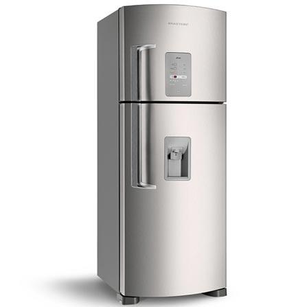 Refrigerador 429L Frost Free Dispenser Brastemp, 110V, 220V, 02 Portas, 02 Portas, Sim, 429 Litros, 100 Litros, 329 Litros, Sim, 56 kWh/mês, Inox, 01 ano, De 351 a 500 litros