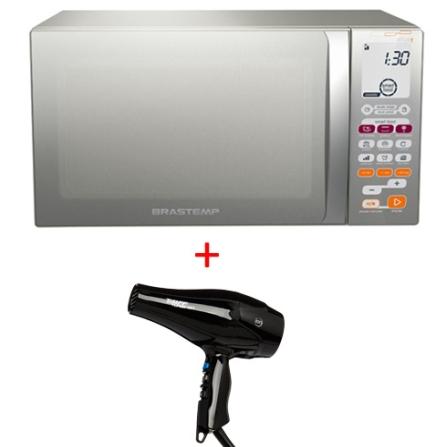Forno de Micro-ondas30LBrastemp+Secador de Cabelo, 110V, 220V, 30 Litros, Acima de 30 litros