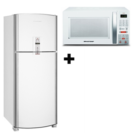 Refrigerador 2 Portas 433L Frost Free / Painel Digital Externo - BRM49BB + Forno Microondas 30L Maxi - Brastemp - BMS35BB, 110V, LB
