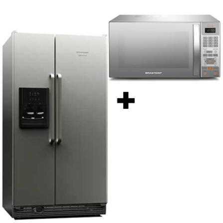 Refrigerador Side by Side 658L+Microondas Brastemp, 110V, LB