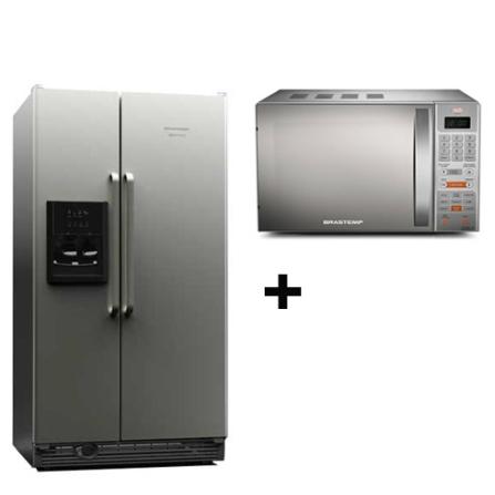 Refrigerador Side by Side Brastemp 658L Frost Free Inox - BRS70GRANA + Forno de Micro-ondas 18L Inox - BMY25AR - Brastemp, 110V, LB