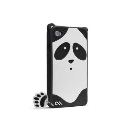 Capa de Silicone para iPhone 4 Panda Case Mate, Preto e Branco, 06 meses