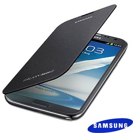 Capa Flip Cover Samsung Cinza para Galaxy Note 2 com Revestimento Interno em Couro Macio e Protege o Aparelho Contra Arranhoes -