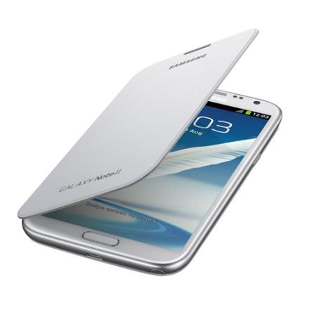 Capa Flip Cover Samsung Branca para Galaxy Note 2 com Revestimento Interno em Couro Macio e Protege o Aparelho Contra Arranhoes