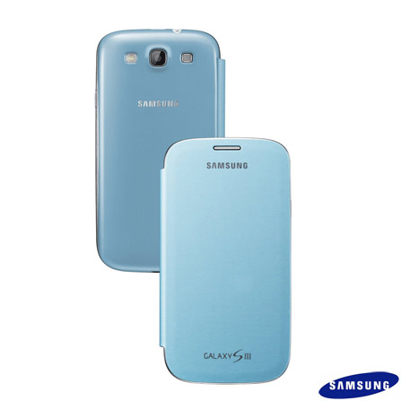 Capa Flip Cover Samsung Azul para Galaxy SIII, Azul