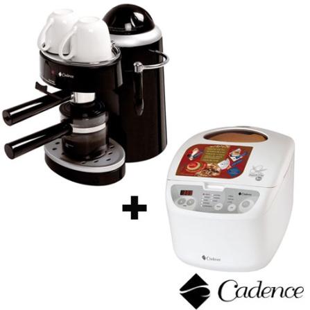 Panificadora Doméstica Automática - Nosso Pão + Cafeteira 04 xícaras Preta Cadence - CJD530XP302, 110V