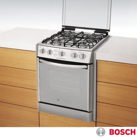 Fogão de Embutir 4 Bocas Inox Style Grill Bosch, LB, Embutir, a Gás, 04 Bocas, Automático, 01, Sim, Inox