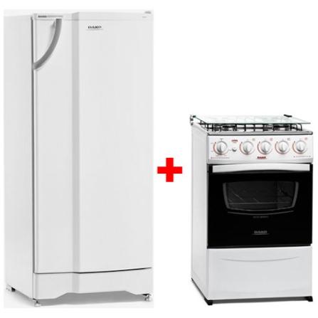 Refrigerador 1 Porta 320L Branco / 220V - DK320 + Fogão de Piso 4 Bocas / Branco / Bivolt - Luna Mais - Dako - CJ320UFM1A2B, LB