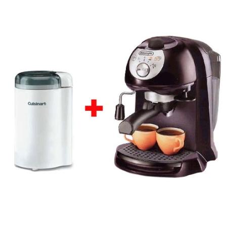 (Ver separados) Cafeteira Espresso De Longhi + Moedor de Café Branco Cuisinart - CJEC200CUDG2