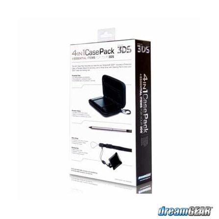 Conjunto Preto com 4 Acessórios para Nintendo 3DS, Capas e Protetores, Nintendo 3DS