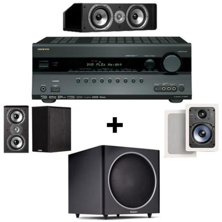 Receiver 7.2 Canais com 90W RMS x 7 - Onkyo / Par de Caixas Bookshelf de 150W RMS / Par de Caixas Acústicas de Embutir com 100W, 110V